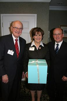 Ginger Tinney (center) with National Right to Work Chairman of the Executive Committee Reed Larson and President Mark Mix