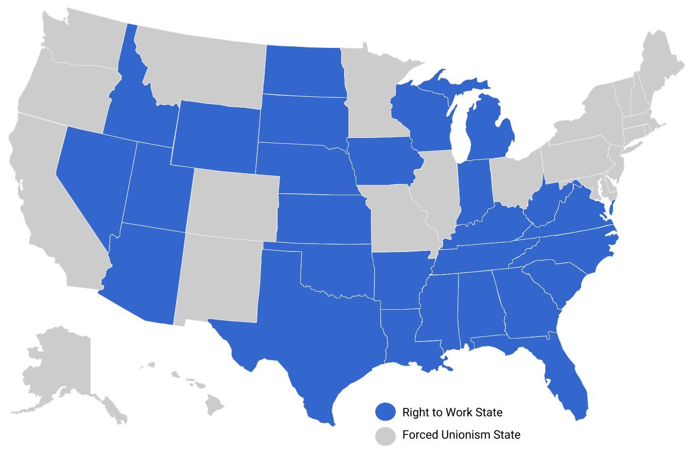 Us Map Of Right To Work States National Right to Work Foundation Estados con Derecho al Trabajo