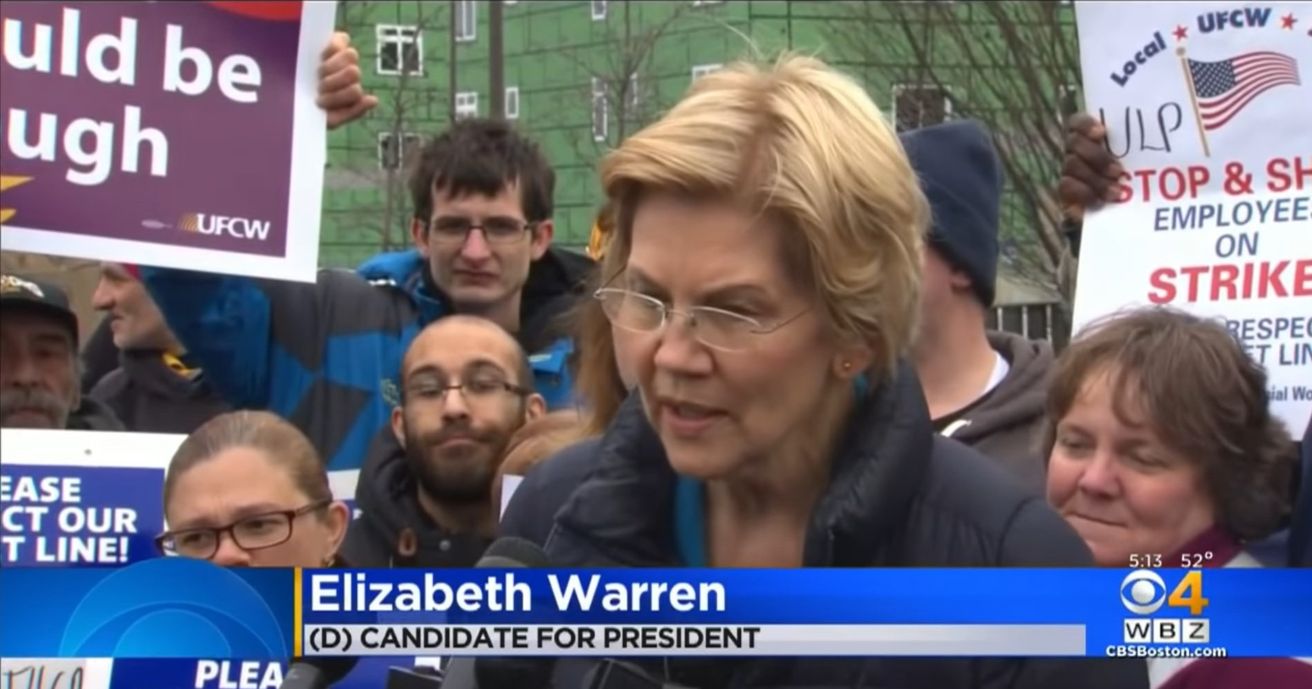 Democrat presidential candidate Elizabeth Warren, seen here on the UFCW picket lines in April, sided with the union bosses who violated workers' rights in an effort to secure their forced-dues-backed support in her campaign